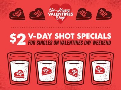 Valentines Day Shot Specials relationships singles sayings bar special love hearts candy shots alcohol illustration valentines-day