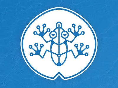 Blue Frog lily pad amphibian geometric lines logo illustration tech water wireless circuit frog blue