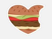 Beyond Meat - Photobooth Prop - Heart Veggie Burger