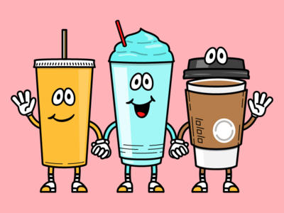 Why Skip? Website Spot Illustration - Drink Network hand holding school house rock spot illustrations waving refreshments coffee soda slurpee illustration skip