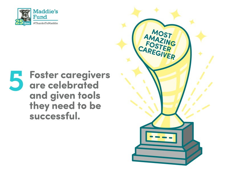 Maddie's Fund - 5th Guiding Principle for Foster Programs celebration goals foster care caregiver trophy icons rescue shelter animal illustration infographic