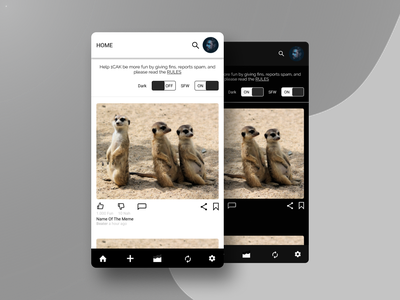 Redesign 1CAK App meme funny simple user interface firstshot mobile redesign minimal flat app ui design