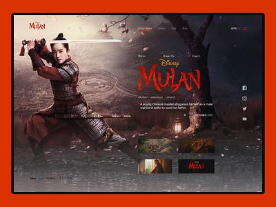 Mulan Movie Concept Screen walt disney pixar disney trailer desktop web user interface userinterface ui mulan movie