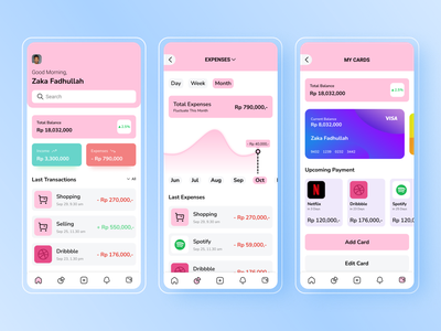 Money Management App cards ui card design income expenses home pink spotify dribbble netflix card money management money app money mobile app user interface ui