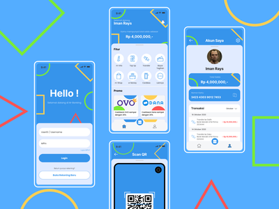 M-Banking Concept App account scan qr codes transaction icon home login mbanking bank mobile app user interface ui design ui