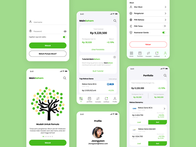 Saham (Investment) Concept App green investment money account profile dashboard login invest saham simple design mobile app user interface ui design ui