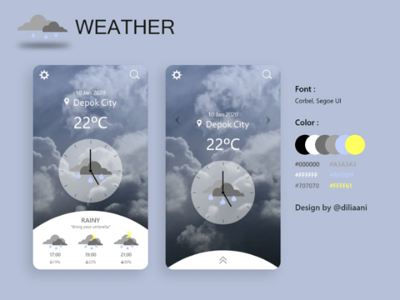 Weather weather shinne setting search rainy location design cloudy cloud clock celcius button bribbble application appdesign app android adobe