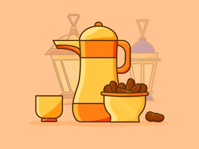 illustration iftar party muslim islam party culture arab iftar eid ramadan art website design minimal flat vector icon illustration