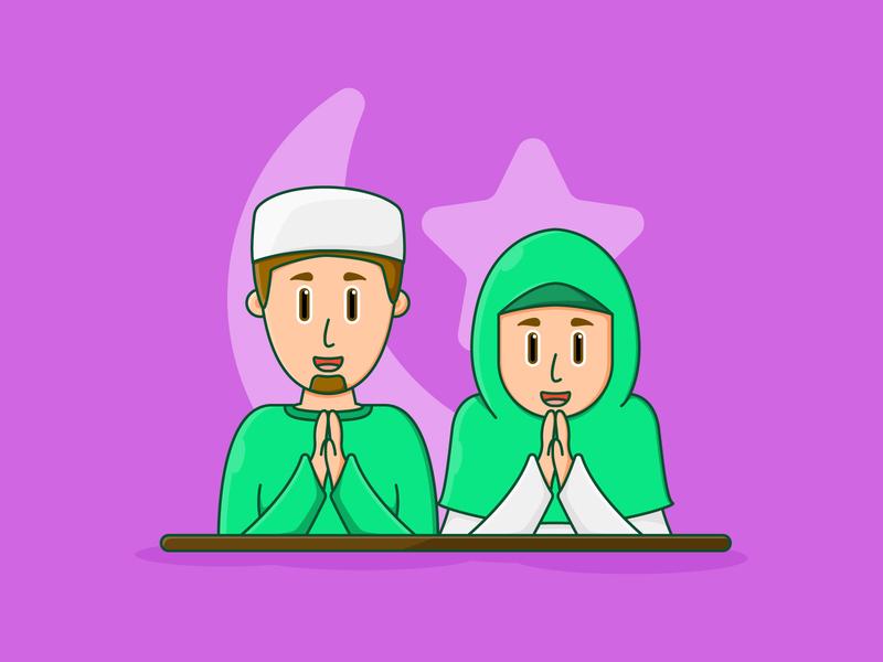 character muslim greeting eid mubarak icon avatar illustration mascot cartoon art design character flat eid namaste greeting