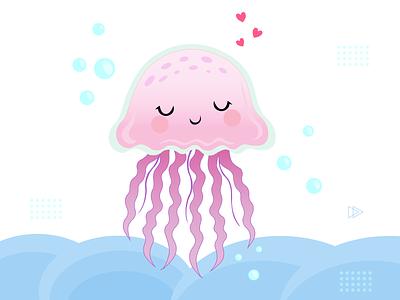 Jellyfish illustration minimal icon branding illustration vector ui design illustrator figma