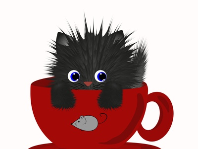 CUP of CAT kitty black cut catoon tea red wallart art cat graphic design