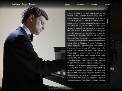 Pianist music personal biography simple clean minimal