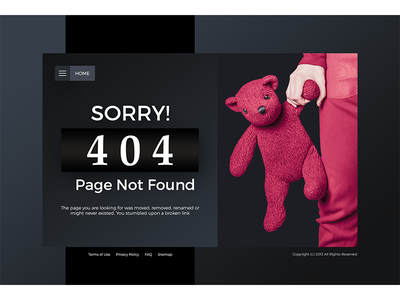 Lost dark simple clean flat ui website error 404