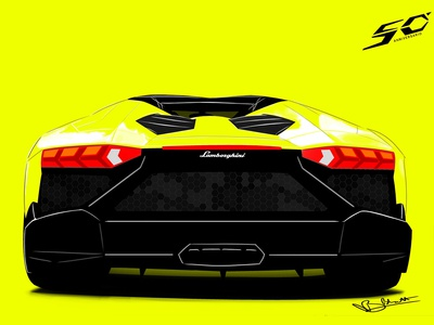 Lamborghini Aventador Roadster 50th Anniversary Illustration