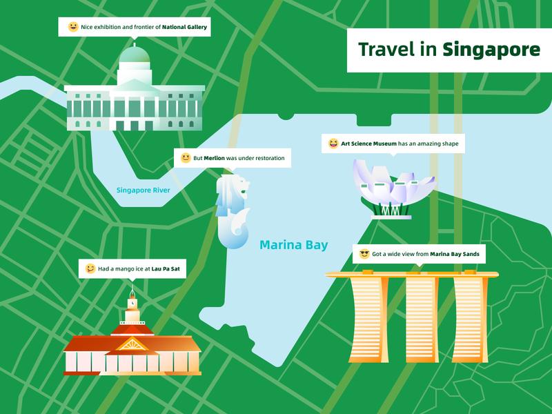 Travel in Singapore map building illustration design