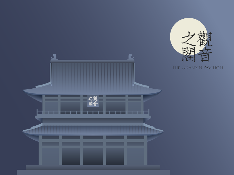 Illustration of a Chinese ancient building ancient china building illustration