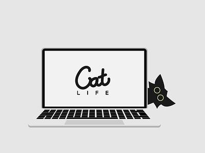 Catventure #3 character illustration cute laptop macbook mac cat life cat lover kitten cat art design minimalist vector graphic graphic design