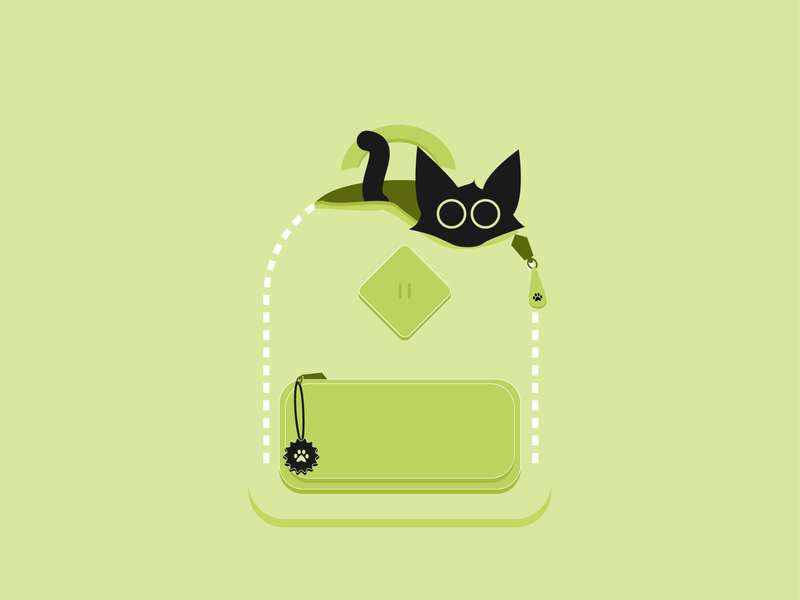 Catventure #4 abstract backpack green kitten cat character design character illustration art minimalist vector graphic graphic design