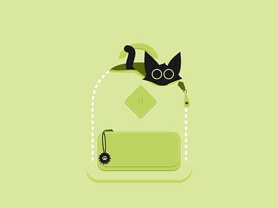 Catventure #4 abstract backpack green kitten cat character design character illustration art minimalist vector graphic graphic design