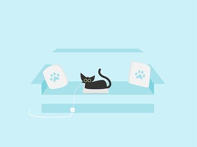 Catventure #5 cat art blue couch laptop kitten kitty cat illustrator minimal abstract illustration design art minimalist vector graphic graphic design