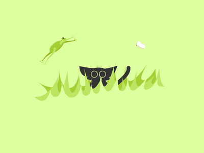 Catventure #8 characterdesign character butterfly green frog cat minimal abstract illustration design art minimalist vector graphic graphic design