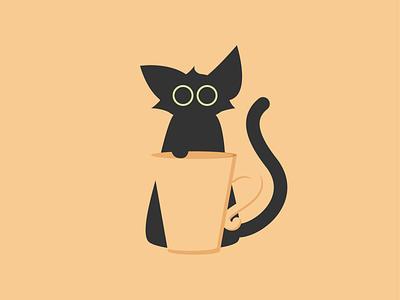 Catventure #9 minimal illustrator graphic design illustration design art minimalist vector graphic cat art cat coffee cup coffee