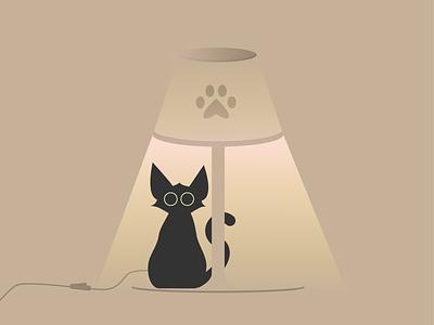 Catventure #10 characterdesign character kitten black cat minimal illustration art minimalist vector graphic graphic design cats graphicdesign design lamp catventure cat