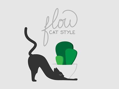 Catventure #11 cactus succulent yoga pose flow calligraphy and lettering artist calligraphy yoga cat yoga cat branding illustrator minimal illustration art design minimalist graphic vector graphic design