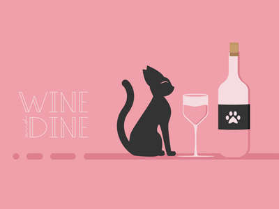 Catventure #12 pink character lettering wine cat abstract minimal illustration design art minimalist vector graphic graphic design