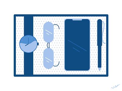 Classic blue stationary blue ui branding minimal illustration design art minimalist vector graphic graphic design