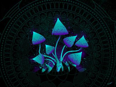 Magic Mushrooms glow mushrooms mushroom mandala magic cyberpunk illustrator abstract minimal illustration design art minimalist vector graphic graphic design