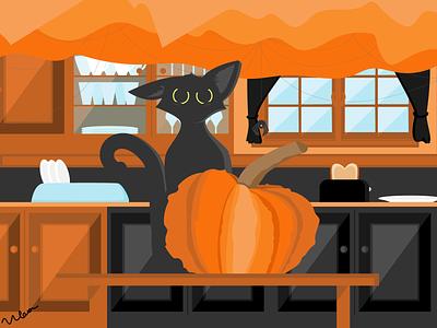 Halloween Kitten cat art halloween design october pumpkin black cat halloween vector illustration cat illustration design art graphic vector graphic design