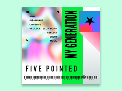 Five Pointed Single Cover Art brutalism vaporwave rock music artist music album music
