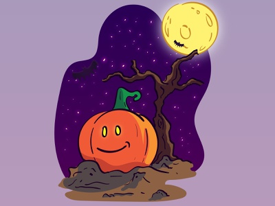 Pumpkin v2 pumpkins night moon tree bat ghost graphics halloween design scary creepy spooky flat illustration design vector flat design illustration