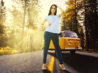 Stephanie volkswagen woman photoshop photo editing photomanipulation photo retouch