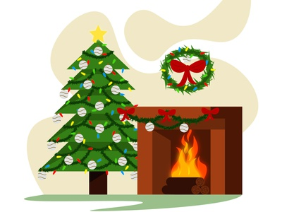 Christmas is coming illustrator flat flatdesign flat illustration design vector flat design illustration christmas tree fireplace xmas christmas