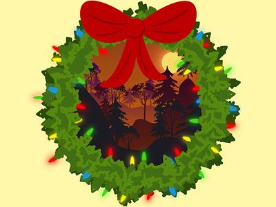 Christmas Wreath flat vector sunset wreath christmas illustrator flat flatdesign flat illustration design vector flat design illustration
