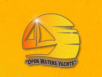 Open Waters Yachts flat illustration branding logo design vector illustration flat design