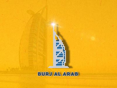 Burj Al Alrab pixelart 8bit burj al arab flat illustration vector illustration flat design