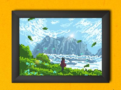 Dream (8 bit style) flat illustration flat design pixel art 8bit