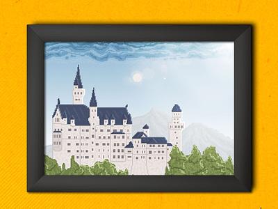Castle landscape castle illustration pixels flat design flat illustration 16bits 8bits pixel art