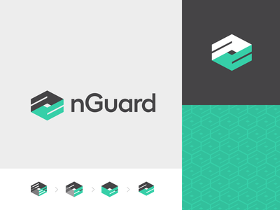 nGuard Identity simple geometric design branding helix dualism symettrical logo identity security