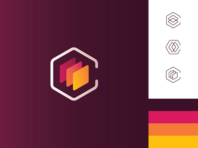C Stack linear icons linear palette warm colors branding identity stacks stack c logo