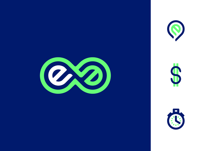 Evolve Identity navy lime infinity logo wordmark e icon pin evolve