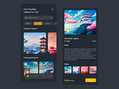 World Explore App - Mobile branding logo motion graphics graphic design 3d animation ui