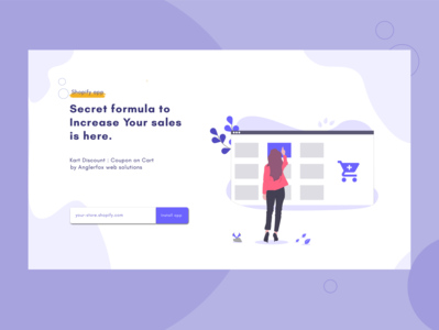 Hero section ,landing page Kart discount landing page design landing page ui illustration