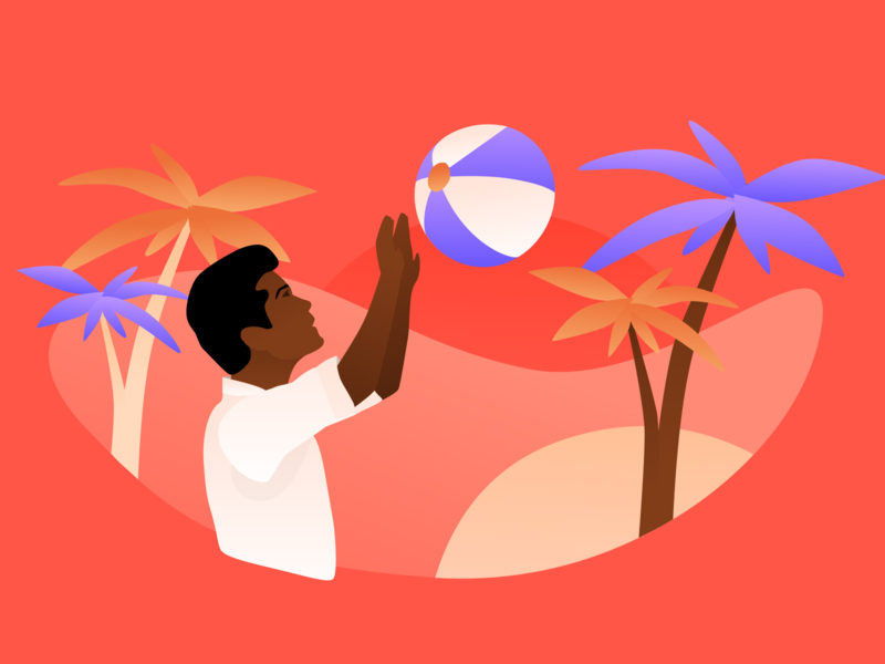 It's summer time! blog design sketchapp sketch illustration beach party summer palmtree beach ball beach