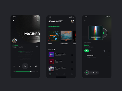 Music mobile app design typography art ui design app