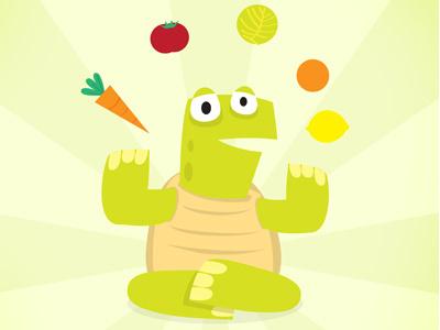 Eat Slowly, Eat Healthy illustration tortoise drawing