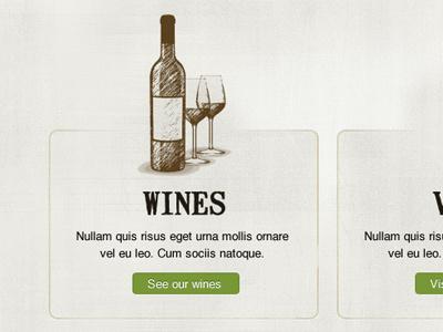 Wines sketch illustration web design